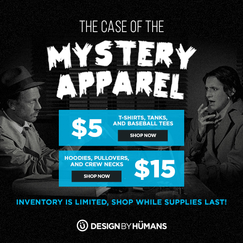 Mystery Apparel Sale! All t-shirts are $5 and sweatshirts are $15.