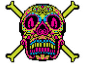 downslope wearing 8-bit candy skull by jun087
