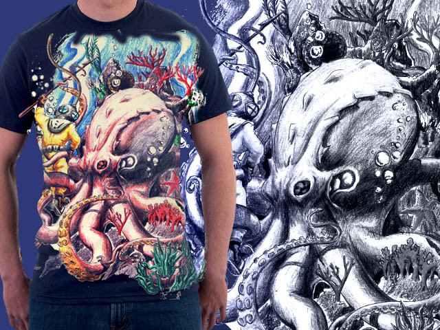 Octupus vs deep sea diver