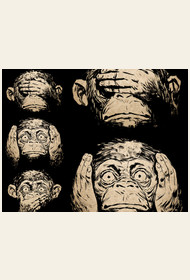 3 wise monkeys by moutchy