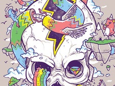Flying Rainbow Skull Island T-Shirt Design by