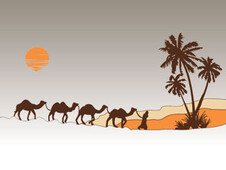 Caravan of camels T-Shirt Design by