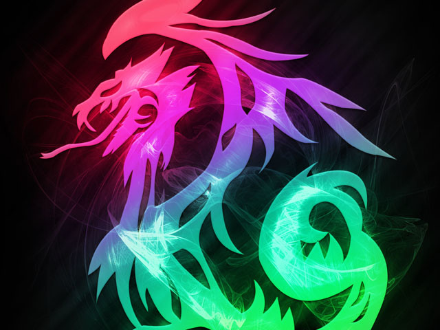 Tribal Dragon In Neon