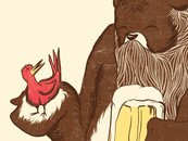 A Beardy Bear with a Beer and a Bird by Feliumc77