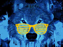 wolf in the blue T-Shirt Design by