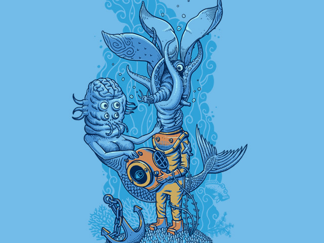 Mermaid and Diver
