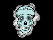Lace Sugar Skull in Mint and Black by LizzieDarden