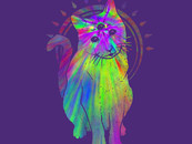 Psychedelic Trippy Cat by biotwist