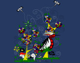 Whimsical Enchanted Garden with Bird by kstein