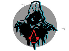assassin's creed in black and red T-Shirt Design by