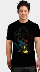 Skull, Hat, 4 triangles and guns T-Shirt