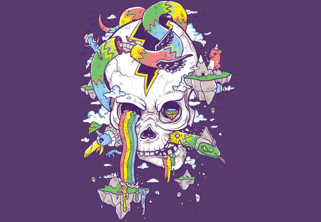 Flying Rainbow Skull Island  Artwork