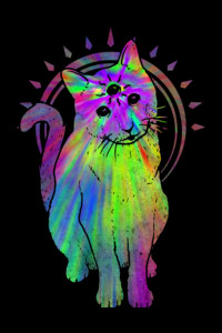 Psychic psychedelic trippy cat by biotwist