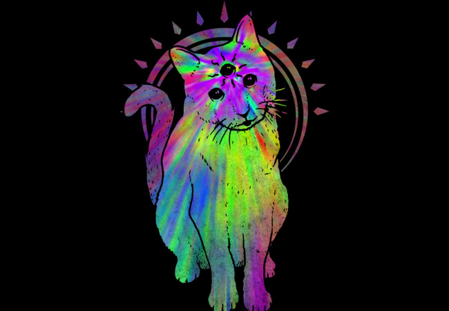 Psychic psychedelic trippy cat  Artwork
