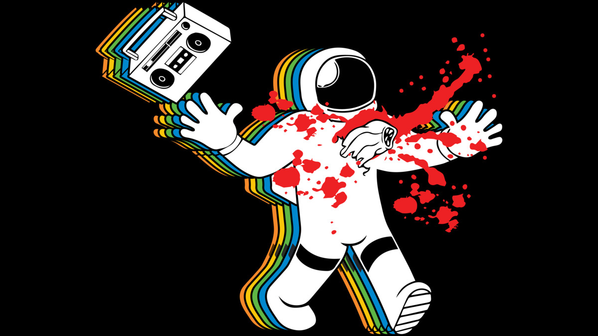 Boombox astronaut alien chestburster parody t shirt by - Space 80s wallpaper ...