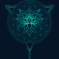 Lotus Flower of Life Mandala in Geometric Triangle