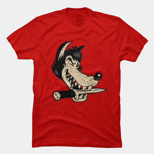 cartoon character line art stylized golden age badass wolf knife tshirt tee