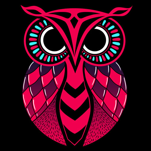 true colors owl character cartoon symbol vector symbol