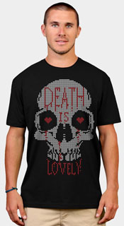 death is lovely skull hearts skeleton head man guy tshirt tee