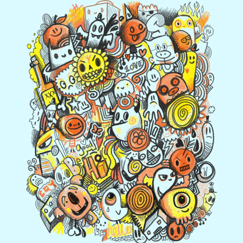pencil people wotto doodle drawing cartoon character colored pencil illustration tshirt tee