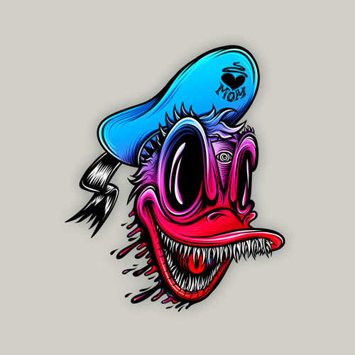 disney donald duck teeth scary horror neon gradient tshirt tee tattoo