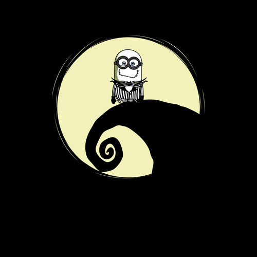 nightmare before christmas jack halloween scary horror disney pixar despicable me minions moon night tshirt tee movie pop culture mashup