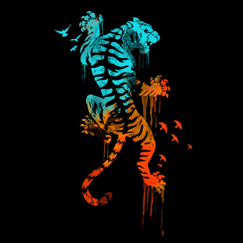 melted survival ingkong tiger drip paint drip birds