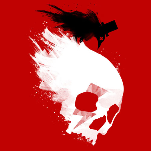 two color black agent edgar poe the raven poetry brushstroke painting skull bird paint splatter tshirt tee art print