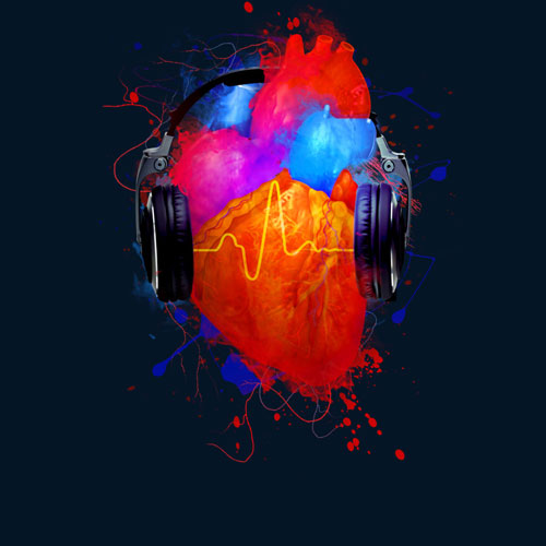 heart glow no music no life tee tshirt heartbeart music headphones cool paint splatter