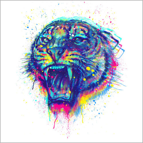 CMYK painted tiger cool wow tshirt tee art print poster paint splatter stencil rainbow tiger growl fierce