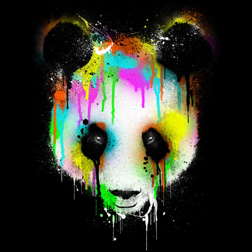 panda drip paint rainbow color cool tshirt tee design art