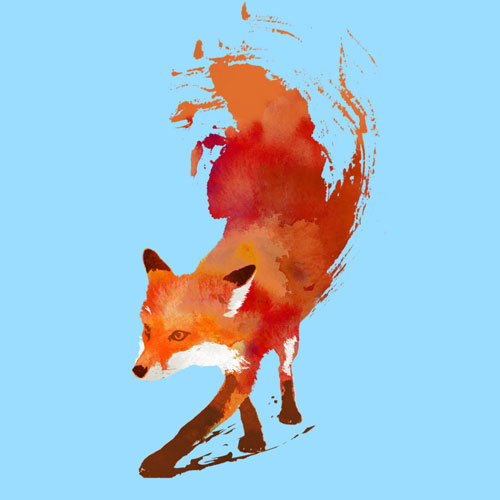 what the fox say fox foxy sly cunning orange watercolor paintbrush brushstroke art tshirt tee vulpes vulpes