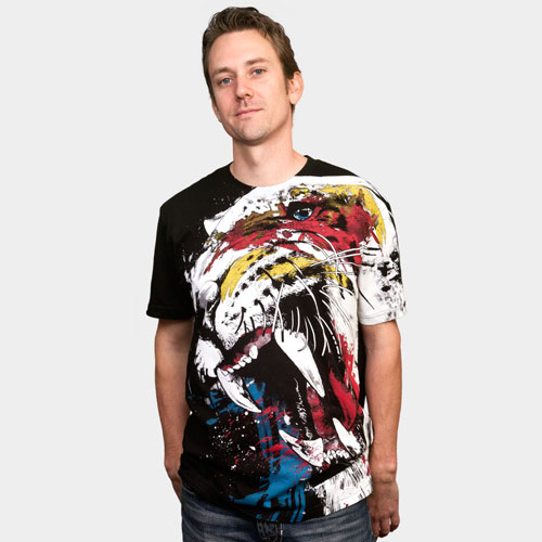 tiger growl fierce art tee paint splatter rainbow color eyes teeth wow