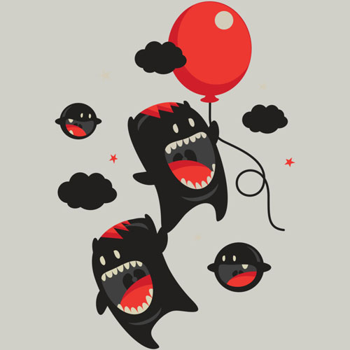 character cartoon to the stars teeth smile balloon happy unique vector tshirt graphic tee