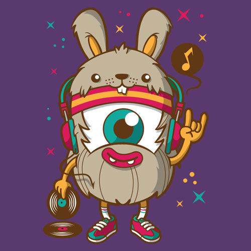 weird DJ tokyocandies tshirt tee graphic design rave dubstep music headphones vinyl monster character cartoon smile