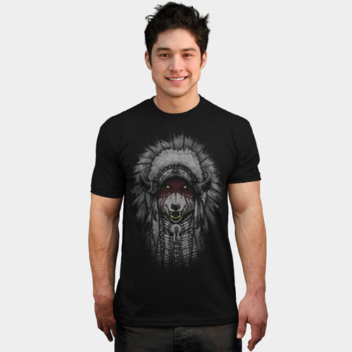 native american indian headdress detailed wolf wolves howl growl eyes graphic tee tshirt mens
