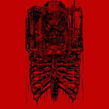 apocalpyse fathi_dhia red skeleton gas mask tshirt tee