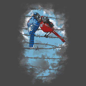 pollution gas mask birds sparrow barbed wire revolution bomb apocalypse tshirt tee fresh air