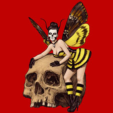 butterfly woman costume pinup skull creepy hawk moth moutchy
