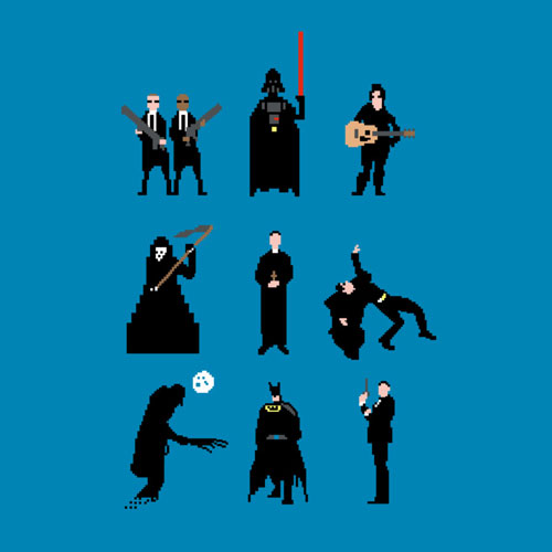 men in black opifan64 matrix batman 007 preacher vader star wars johnny cash death funny parody 8bit art tshirt tee
