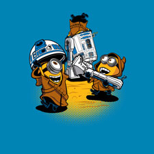 despicable me r2d2 minion star wars tshirt tee cartoon pop culture djkopet