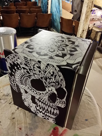 elephant final finished canvas art cooler redbull elephant bioworkz la flower skull illustration