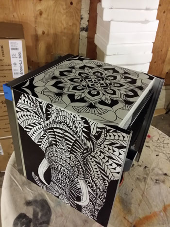 elephant final finished canvas art cooler redbull elephant bioworkz la flower skull illustration WIP