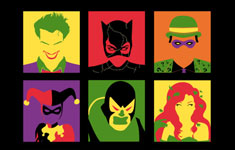 pop art pop culture parody batman joker villain vector riddler poison ivy catwoman art print