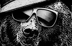 black bear sunglasses funnt black and white tshirt tee