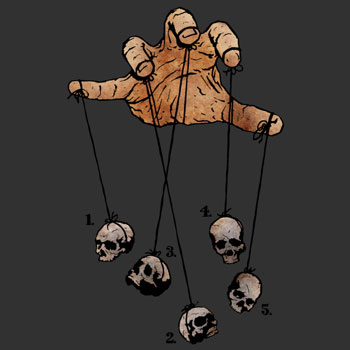 the five dancing skulls of doom matthewdunnart hand human skulls tee tshirt