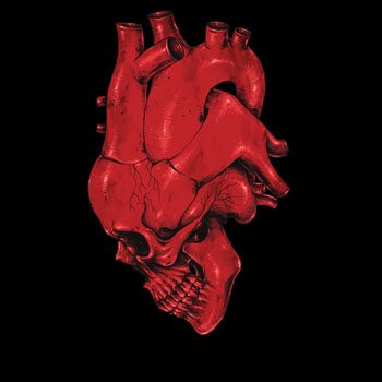 heart creepy weird skull of heart digial carbine veins aoerta tshirt tee red human