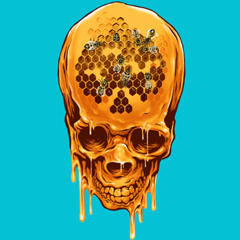 skull yellow skull zakihamdani honey drip paint splatter bees horror scary candyman tshirt tee gold honey