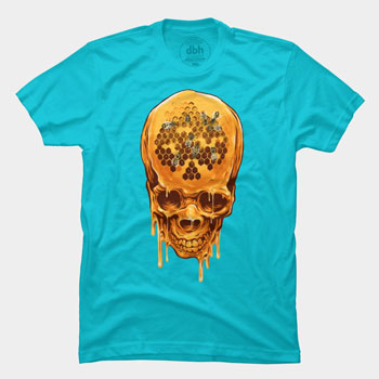 skull yellow skull zakihamdani honey drip paint splatter bees horror scary candyman tshirt tee gold