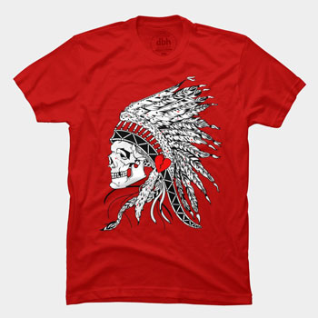 red war of hearts meglobz indian native american headdress feather eyes skull tshirt tee